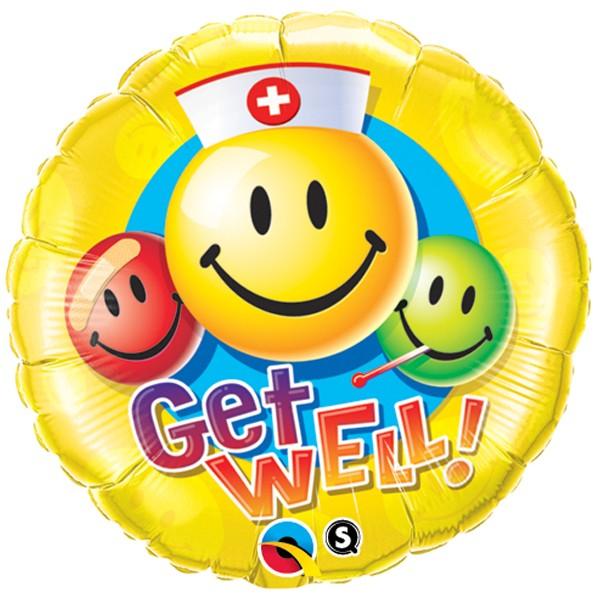 Get Well - Folienballon 45 cm mit Smileys - für die baldige Besserung!