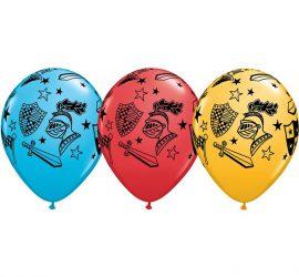 Latexballons mit Ritter-Motiven in drei verschiedenen Farben! 30 cm groß