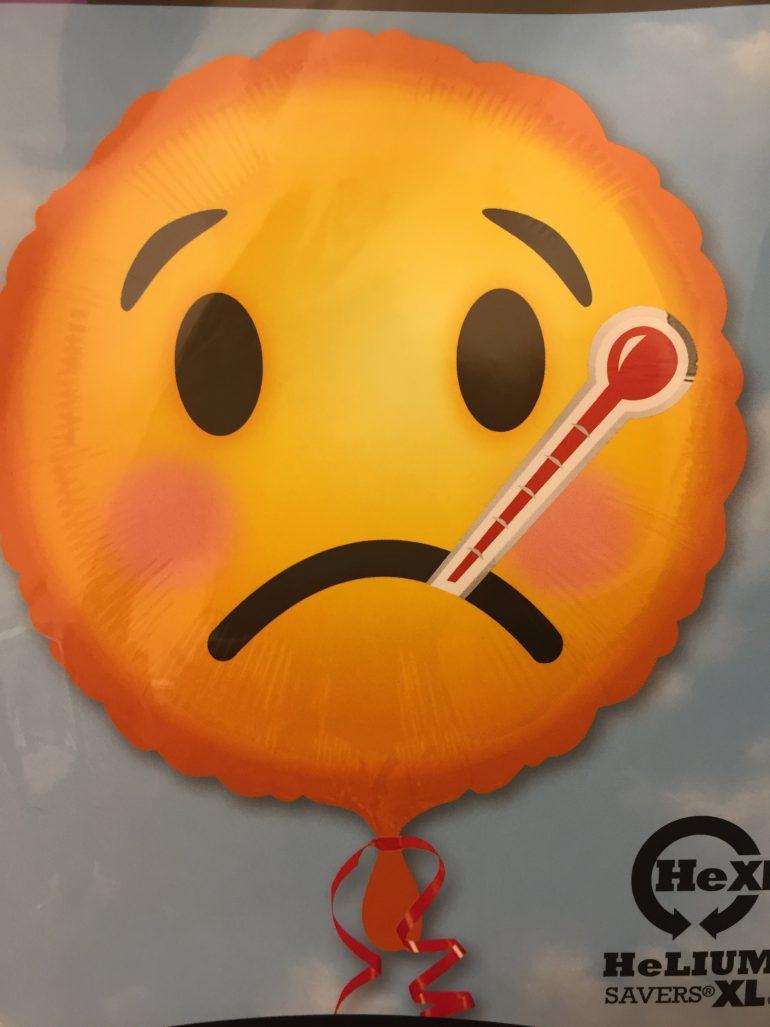 Smiley mit Fieberthermometer - baldige Besserung - rund 45 cm