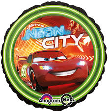 Lightning McQueen - Cars - Neon City - runder Folienballon 45 cm