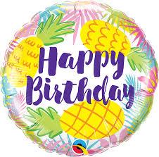 Happy Birthday - runder Geburtstagsballon mit Ananas 45 cm