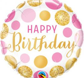 HAPPY Birthday - runder Geburtstags-Folienballon 45 cm - gold - pink