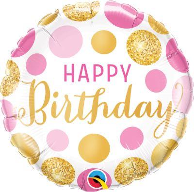 HAPPY Birthday - runder Geburtstags-Folienballon 45 cm - gold - pink