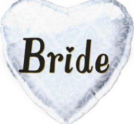 Folienherz Bride - für die Hochzeit, für den Polterabend... 45 cm