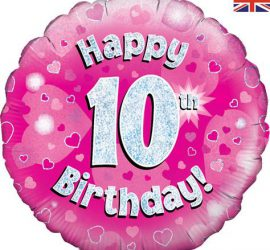 Happy 10th Birthday! zum 10. Geburtstag! Pink! Glitzer! 45cm, runder Folienballon!