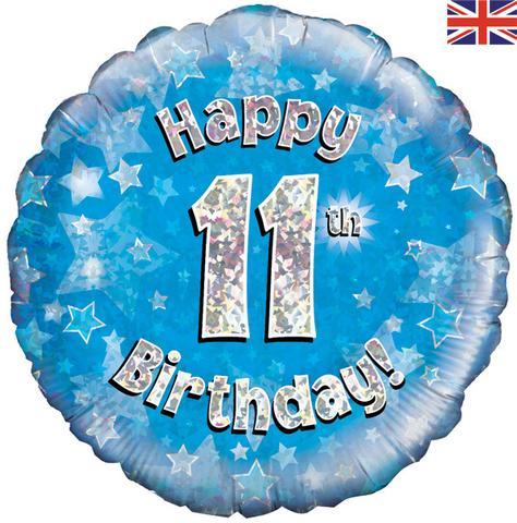 Happy 11th Birthday! zum 11. Geburtstag! Blau! Glitzer! 45cm, runder Folienballon