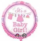 It´s a Baby Girl! Es ist ein Mädchen! Zur Geburt, zur Babyparty, Babyshower, runder Folienballon 45 cm