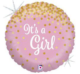 It´s a Girl! Es ist ein Mädchen! Zur Geburt, zur Babyparty, Babyshower, runder Folienballon 45 cm