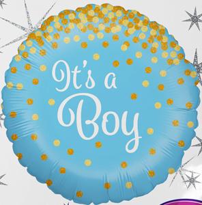 It´s a Boy! Es ist ein Junge! Zur Geburt, zur Babyparty, Babyshower, runder Folienballon 45 cm