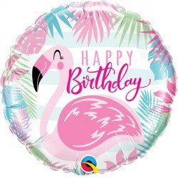 Happy Birthday Folienballon rund 45 cm mit Flamingo