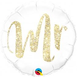 weißer Folienballon rund 45 cm, Aufschrift in goldglitzer `Mr´- für die Hochzeit, für den Polterabend