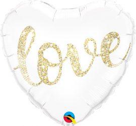 Weißes Folienherz mit goldener Glitzerschrift `love´ Liebe, 45 cm, zur Verlobung, zur Hochzeit, oder einfach so...