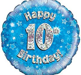 Happy 10th Birthday! zum 10. Geburtstag! Blau! Glitzer! 45cm, runder Folienballon