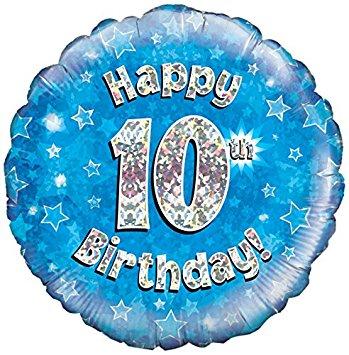 Happy 10th Birthday! zum 10. Geburtstag! Blau! Glitzer! 45cm, runder Folienballon