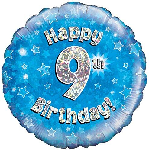 Happy 9th Birthday! zum 9. Geburtstag! Blau! Glitzer! 45cm, runder Folienballon