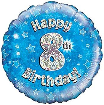Happy 8th Birthday! zum 8. Geburtstag! Blau! Glitzer! 45cm, runder Folienballon
