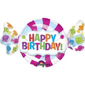 Happy Birthday Zuckerl - Folienballon 1 m groß - ein fliegendes Bonbon