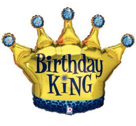 Birthday King - goldene Krone für den Geburtstagskönig! Folienballon 90 cm groß!