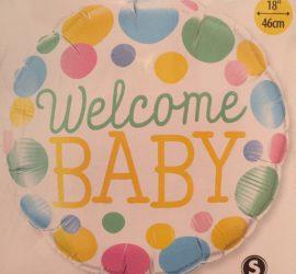 Folienballon mit bunten Farbtupfen `Welcome BABY´ passend zur Geburt oder für die Babyparty - Babyshower