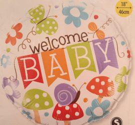 Welcome Baby - zur Geburt oder für die Babyparty - Babyshower - bunter Folienballon mit Schmetterlingen und Blumen