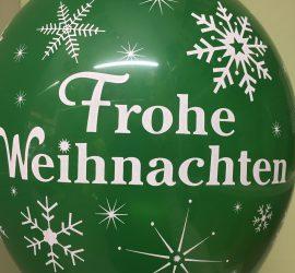 Frohe Weihnachten - Merry Christmas - Weihnachtsdeko - grüner Latexballon
