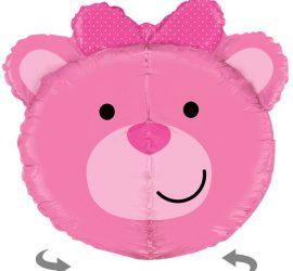 Teddybärkopf in pink, riesig! Zur Geburt, für die Babyparty (babyshower), zum Geburtstag!