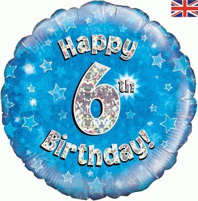 Happy 6th Birthday! zum 6. Geburtstag! Blau! Glitzer! 45cm, runder Folienballon