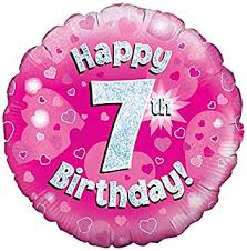 Happy 7th Birthday! zum 7. Geburtstag! Pink! Glitzer! 45cm, runder Folienballon!