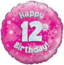 Happy 12th Birthday! zum 12. Geburtstag! Pink! Glitzer! 45cm, runder Folienballon!
