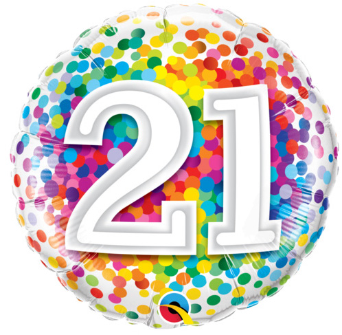 zum 21. Geburtstag - bunt - runder Folienballon 45 cm