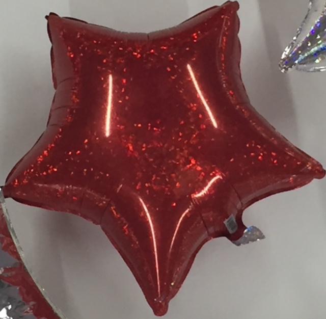 rot - glitzernd - Folienstern - 50 cm