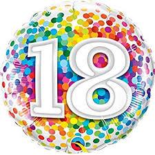 zum 18. Geburtstag - bunt - runder Folienballon 45 cm
