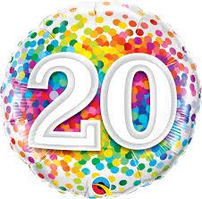 zum 20. Geburtstag - bunt - runder Folienballon 45 cm