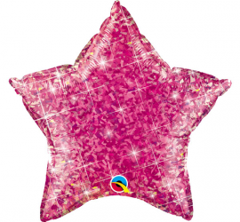 rosa - pink - glitzernd - Folienstern - 50 cm