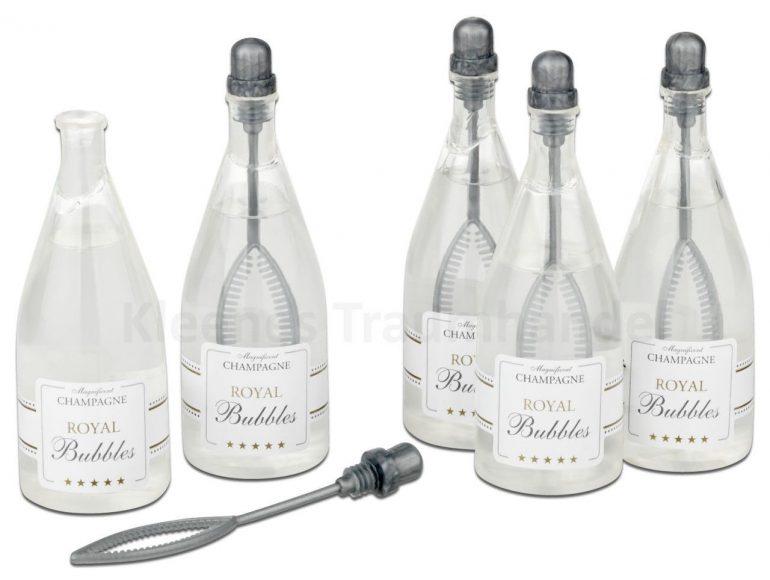 Seifenblasen Champagnerflasche für Geburtstage, Hochzeit, Polterabend...