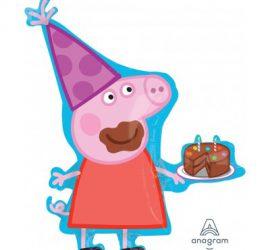 Peppa Pig - Peppa Wutz - mit Torte - Folienballon 83 cm hoch