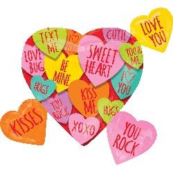 Folienherz mit Botschaften - Sweet Heart/Love you/Kisses/Hugs uvm...