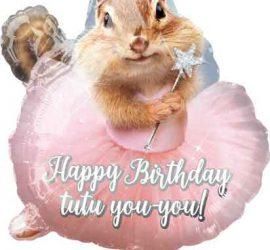 Streifenhörnchen mit Tutu Happy Birthday Ballon, Folie, 55 cm hoch