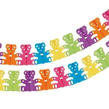 Partygirlande Teddy in bunten Farben