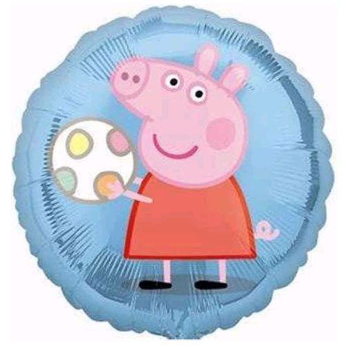 Peppa Pig mit Ball - Peppa Wutz - runder Folienballon 45 cm