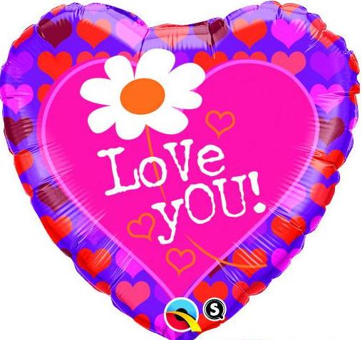 Folienherz `Love you´ mit Margerite und Herzen! 45 cm groß