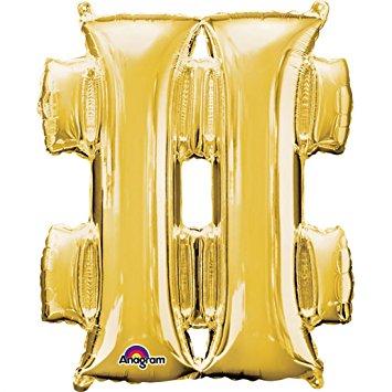 Folienballon Sonderzeichen Raute in der Farbe gold, 86 cm hoch, heliumgeeignet!