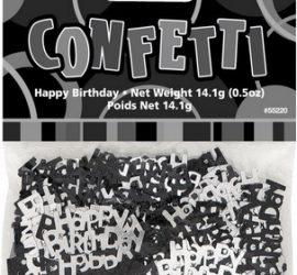 Tischkonfetti Happy Birthday in schwarz/silber
