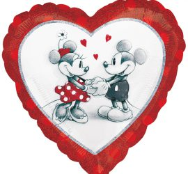 Folienherz Minnie und Mickey, Disney, 45 cm
