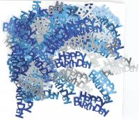 Tischkonfetti - Happy Birthday in blau/silber