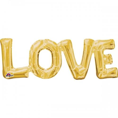 Schriftzug LOVE in gold, LUFTFÜLLUNG! 40 cm hoch
