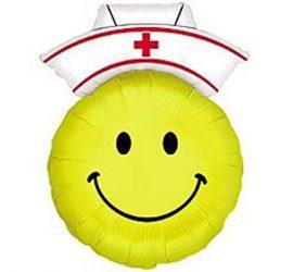 Krankenschwester Smiley - zur baldigen Besserung! Folienballon 70 cm