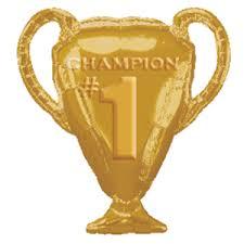 Pokal, goldfarben, CHAMPION #1, 70 cm hoch, Folienballon