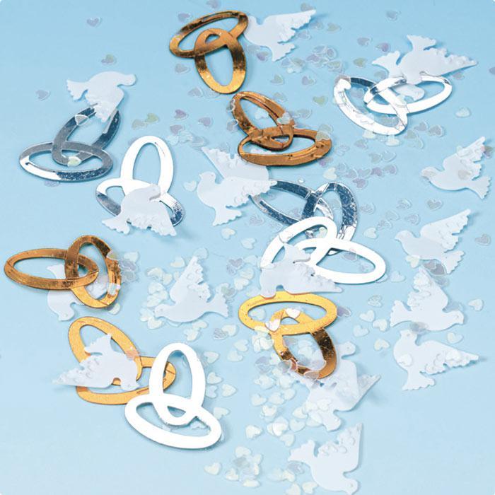 Streudeko - Tischkonfetti - Hochzeit - Tauben - Eheringe