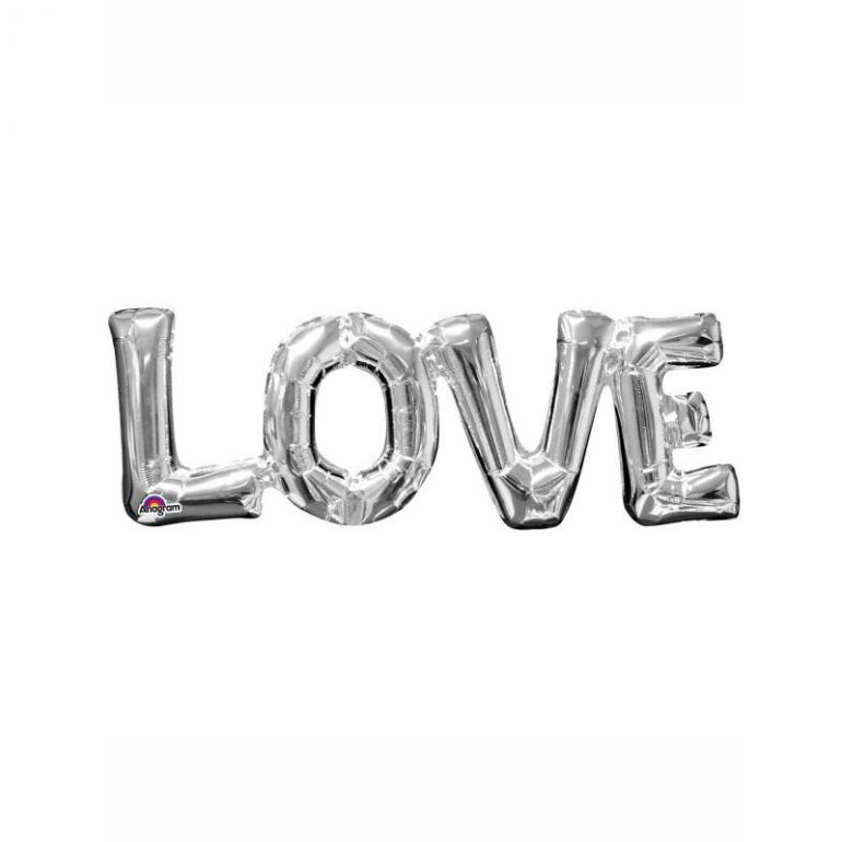 Schriftzug LOVE in silber, LUFTFÜLLUNG! 40 cm hoch!